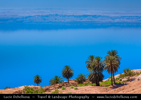 Middle East - Jordan - Hashemite Arab Kingdom of Jordan - Dead Sea - The Lowest Point on Earth - Spectacular Natural & Spiritual Landscape - World famous Sea of Salt in Jordan Rift Valley - Deepest hypersaline lake in the world with 34.2% salinity