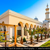 Jordan - Hashemite Arab Kingdom of Jordan - Aqaba - Aqabah - Jordanian coastal city situated at the northeastern tip of the Red Sea - Al-Sharif Al-Hussein bin Ali Mosque - Most beautiful building in Aqaba - Snow-white mosque influenced by the Northern African Islamic Architecture