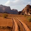 4x4 tracks leading into the desert of Wadi Rum in Southern Jordan.