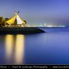 Middle East - GCC - Kuwait - Salmiya corniche - Arabian Gulf Street - Sea front with Kuwait City skyline at Dusk - Twilight - Blue Hour - Night