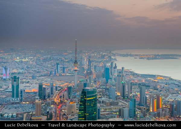 Middle East - GCC - Kuwait - Kuwait City - City's Modern Skyline with high-rise buildings including Liberation Tower - 372 m - Second tallest structure in Kuwait
