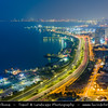 Middle East - GCC - Kuwait - Kuwait City - City's Modern Skyline with high-rise buildings along the seaside at Dusk - Twilight - Blue Hour - Night