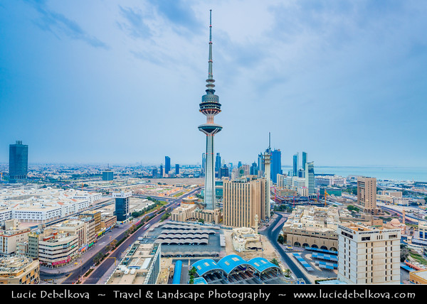 Middle East - GCC - Kuwait - Kuwait City - City's Modern Skyline with high-rise buildings including Liberation Tower - 372 m - Second tallest structure in Kuwait at Dusk - Twilight - Blue Hour - Night