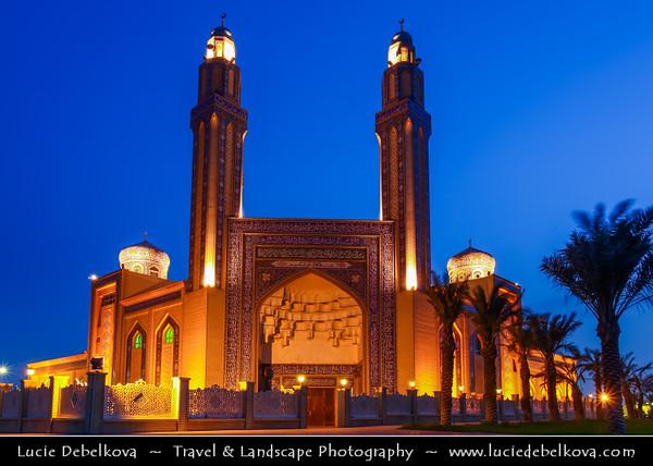 Middle East - GCC - Kuwait - Kuwait City - Mohammad Al Baqer Mosque - Beautiful iranian style blue tiles Shia Masjed at Dusk - Twilight - Blue Hour - Night