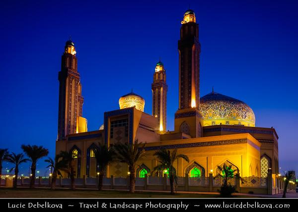 Middle East - GCC - Kuwait - Kuwait City - Mohammad Al Baqer Mosque - Beautiful blue iranian tiles Shia Masjed at Dusk - Twilight - Blue Hour - Night