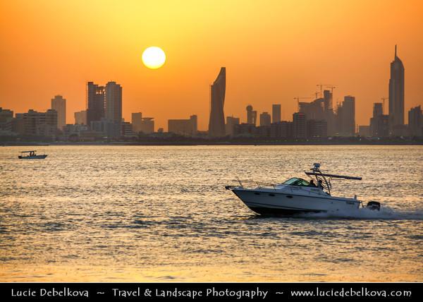 Middle East - GCC - Kuwait - Salmiya corniche - Arabian Gulf Street - Sea front with Kuwait City skyline during Sunset