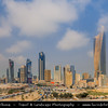 Middle East - GCC - Kuwait - Kuwait City - City's Modern Skyline with highrise buildings including Al Hamra Tower 412.6 m / 1,354 ft - Tallest skyscraper in Kuwait