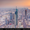 Middle East - GCC - Kuwait - Kuwait City - City's Modern Skyline with high-rise buildings including Liberation Tower - Second tallest structure in Kuwait at Sunset