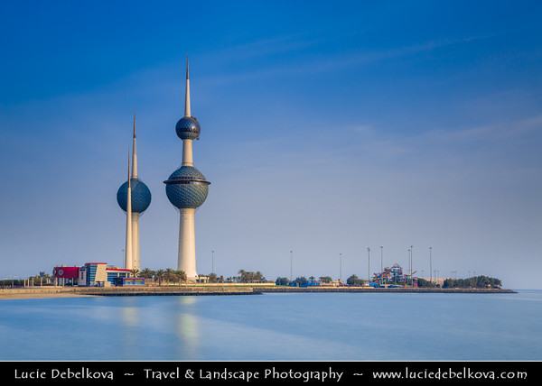 Middle East - GCC - Kuwait - Kuwait City - Kuwait Towers - Group of three slender water towers standing on promontory into the Persian Gulf - Iconic landmark of Kuwait