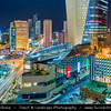 Middle East - GCC - Kuwait - Kuwait City - City's Modern Skyline with highrise buildings including Al Hamra Tower - Tallest skyscraper in Kuwait at Dusk - Twilight - Blue Hour - Night