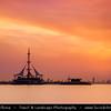 Middle East - GCC - Kuwait - Salmiya corniche - Arabian Gulf Street - Sea front and Marina Waves Leisure complex at Sunset