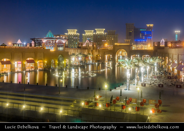 Middle East - GCC - Kuwait - Fahaheel - Al Kout Mall - Shopping mall that contains fountains which offer a night show at Dusk - Twilight - Blue Hour