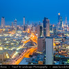 Middle East - GCC - Kuwait - Kuwait City - City's Modern Skyline with high-rise buildings at Dusk - Twilight - Blue Hour - Night