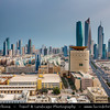 Middle East - GCC - Kuwait - Kuwait City - City's Modern Skyline with highrise buildings including Al Hamra Tower - Tallest skyscraper in Kuwait