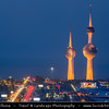 Middle East - GCC - Kuwait - Kuwait City - City's Modern Skyline with highrise buildings including  Kuwait Towers - Group of three slender water towers standing on promontory into the Persian Gulf - Iconic landmark of Kuwait