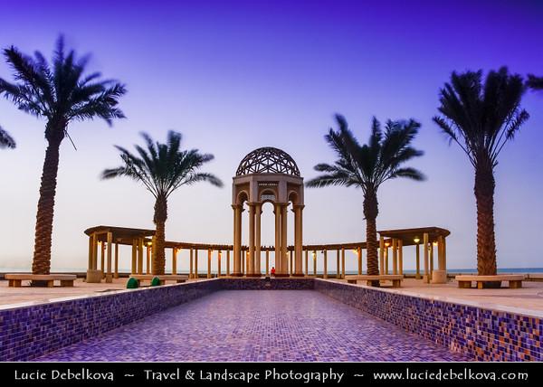 Middle East - GCC - Kuwait - Salmiya corniche - Arabian Gulf Street - Sea front with Bandstand / gazebo at Dusk - Twilight - Blue Hour