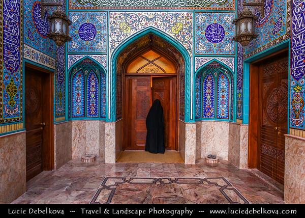 Middle East - GCC - Kuwait - Kuwait City - Mohammad Al Baqer Mosque - Beautiful Iranian style blue tiles Shia Masjed with local Kuwaiti woman in traditional dress chador