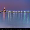 Middle East - GCC - Kuwait - Kuwait City - City's Modern Skyline - Kuwait Towers - Group of three slender water towers standing on promontory into the Persian Gulf - Iconic landmark of Kuwait - Dusk - Twilight - Blue Hour - Night