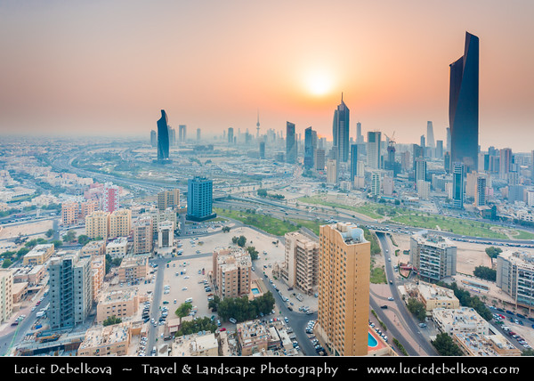 Middle East - GCC - Kuwait - Kuwait City - City's Modern Skyline with highrise buildings including Al Hamra Tower - Tallest skyscraper in Kuwait at Sunset