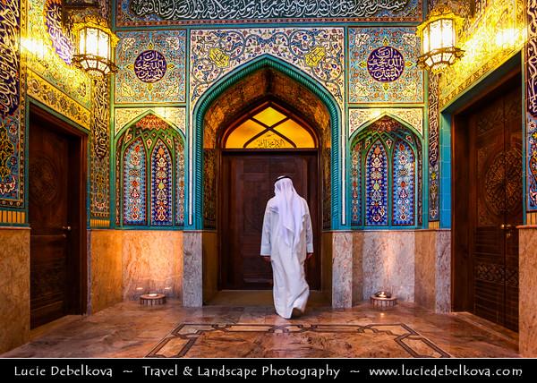 Middle East - GCC - Kuwait - Kuwait City - Mohammad Al Baqer Mosque - Beautiful Iranian style blue tiles Shia Masjed with local Kuwaiti man in traditional arabic dress dishdasha