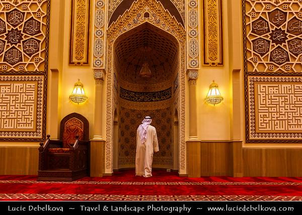 Middle East - GCC - Kuwait - Kuwait City - Mohammad Al Baqer Mosque - Beautiful Shia Masjed Interior with local Kuwaiti man in traditional arabic dress dishdasha
