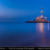 Middle East - GCC - Kuwait - Salmiya corniche - Arabian Gulf Street - Sea front and Marina Waves Leisure complex at Dusk - Twilight - Blue Hour - Night