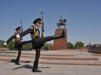 changing the guards on Bishkek square