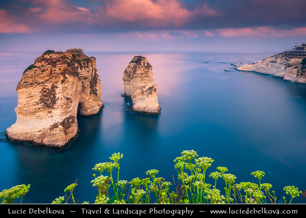Lebanon - Libnān - Lubnān - Beirut - وت - Bayrūt - Beyrouth - Pigeons' Rock - Raouché - Beirut's western-most tip - Two huge rock formations, a popular destination for locals & visitors