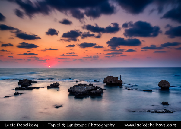 Lebanon - Libnān - Lubnān - Liban - Tyre - Sour - Ancient Phoenician City on shore of Mediterranean Sea - UNESCO World Heritage Site - Sunset - Dusk on the seaside area