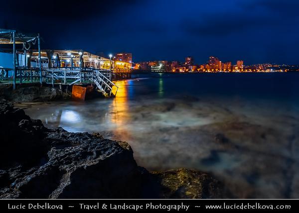 Lebanon - Libnan - Lubnan - Liban - Tyre - Sour - Ancient Phoenician City on shore of Mediterranean Sea - UNESCO World Heritage Site - Sunset - Dusk on the seaside area