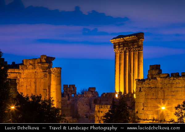 Lebanon - Libnan - Lubnan - Liban - Beqaa Valley - Baalbek - Baalbeck - Ba'albak - UNESCO World Heritage Site - Heliopolis - Exquisitely detailed yet monumentally scaled temple ruins of the Roman period – One of wonders of the ancient world, containing some of the largest and best preserved Roman ruins - Dusk - Blue Hour - Twilight - Night