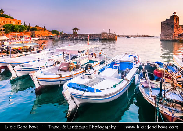Lebanon - Libnān - Lubnān - Byblos - Gebal - Βύβλος - جبيل - Jubayl - Ancient Town on shores of Mediterranean Sea - Oldest continuously-inhabited city in the world - UNESCO World Heritage Site - Historic Quarter Marina with Boats in Harbour