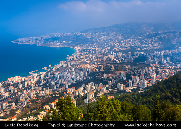 Lebanon - Libnān - Lubnān - Liban - View of Beirut & Bay of Jounieh from Marian shrine & pilgrimage site of Our Lady of Lebanon - Notre Dame du Liban