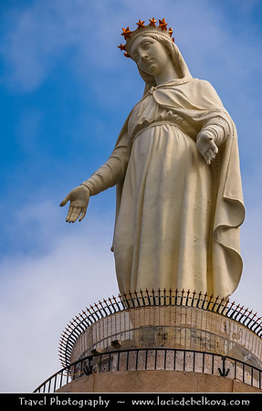 Lebanon - Libnān - Lubnān - Liban - Harissa - Town 20 km north of Beirut - Our Lady of Lebanon - Notre Dame du Liban - Marian shrine & pilgrimage site overlooking the bay of Jounieh - Statue of Our Lady of Lebanon with her arms outstretched