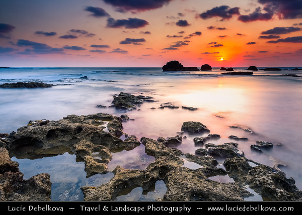 Lebanon - Libnān - Lubnān - Liban - Tyre - Sour - Ancient Phoenician City on shore of Mediterranean Sea - UNESCO World Heritage Site - Sunset - Dusk on the seaside area