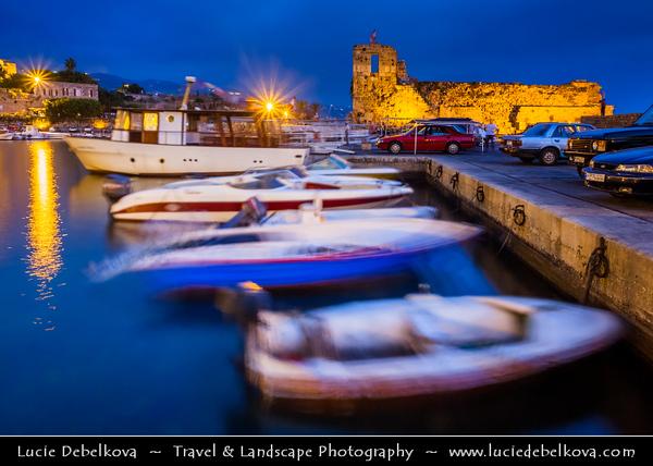 Lebanon - Libnān - Lubnān - Byblos - Gebal - Βύβλος - جبيل - Jubayl - Ancient Town on shores of Mediterranean Sea - Oldest continuously-inhabited city in the world - UNESCO World Heritage Site - Historic Quarter Marina at Dusk - Twilight - Blue Hour