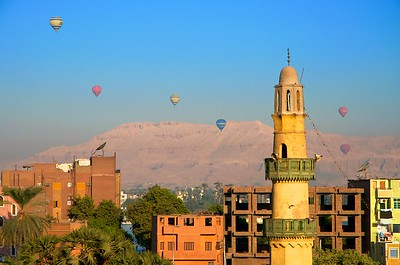 Hot-air balloons at sunrise on Luxor's west bank