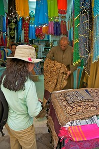 Shopping for scarves in the souq