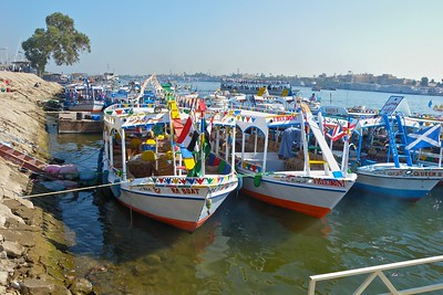 Colorful ferry boats on the Nile
