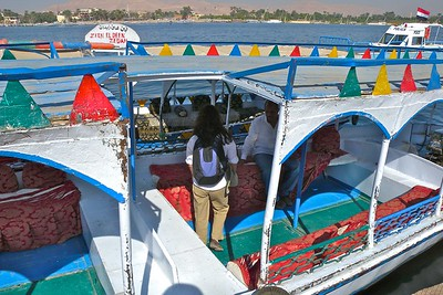 Colorful ferry across the Nile