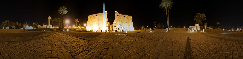 360° panorama outside of the Luxor Temple and the Avenue of the Sphinxes (far right) in Luxor, Egypt