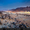 Middle East - Sultanate of Oman - Ad Dakhiliyah Region - Fanja - Historical town with unique mixture of old and new landmarks with many ancient buildings like towers, castles and old houses built of mud on the mountains overlooking the wadi - Fanja Sultan Qaboos Mosque in Bidbid