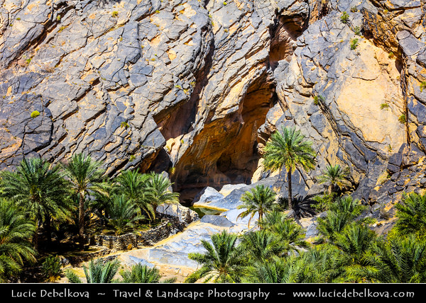 Middle East - Sultanate of Oman - South Batinah Governorate - Hajar Mountains - جبال الحجر‎ - Stone Mountains - Spectacular wall of mountains with dramatic canyons and rocky valleys in northeastern Oman - Snake Canyon, Al Hajir