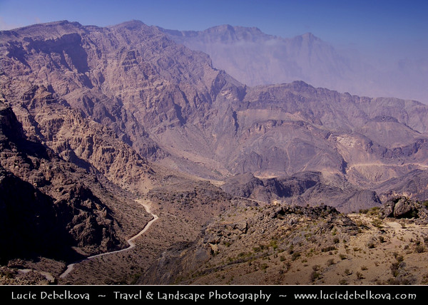 Middle East - Sultanate of Oman - Hajar Mountains - جبال الحجر - Stone Mountains - Spectacular wall of mountains with dramatic canyons and rocky valleys in northeastern Oman