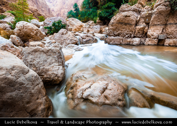 Middle East - Sultanate of Oman - Sharqiyah Region - Wadi Shab - One of the most beautiful Omani destinations with waterfalls, pools and terraced plantations