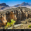 Middle East - Sultanate of Oman - South Batinah Governorate - Hajar Mountains - جبال الحجر - Stone Mountains - Spectacular wall of mountains with dramatic canyons and rocky valleys in northeastern Oman