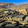 Middle East - Sultanate of Oman - South Batinah Governorate - Hajar Mountains - جبال الحجر‎ - Stone Mountains - Spectacular wall of mountains with dramatic canyons and rocky valleys in northeastern Oman - Wadi Nakhr - Wadi Ghul - Oman's Grand Canyon of Jebel Shams, highest peak in Oman