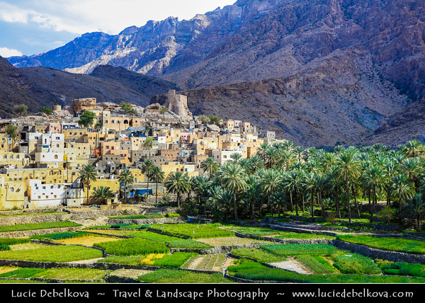 Middle East - Sultanate of Oman - South Batinah Governorate - Hajar Mountains - جبال الحجر - Stone Mountains - Spectacular wall of mountains with dramatic canyons and rocky valleys in northeastern Oman - Bilad Sayt, Balad Sayt, Bald Sayt - One of Wadi Bani Awf Mountain villages in Wilayt ArRustaq, near Jebel Shams, the highest peak in the Sultanate of Oman - Fine example of traditional Omani villages with its agricultural terraces and mountainous location
