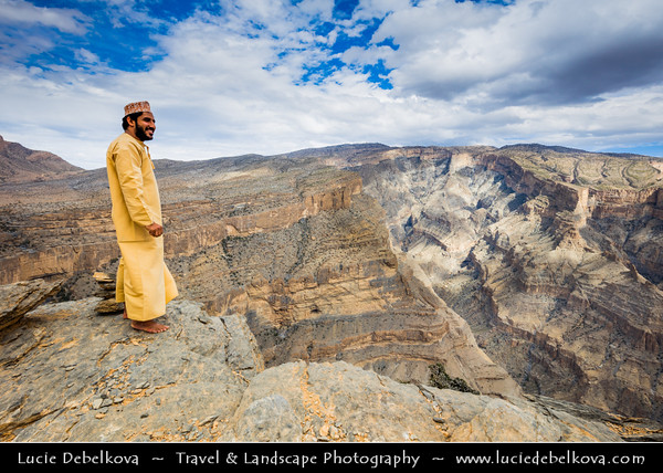 Middle East - Sultanate of Oman - South Batinah Governorate - Hajar Mountains - جبال الحجر - Stone Mountains - Spectacular wall of mountains with dramatic canyons and rocky valleys in northeastern Oman -  Oman's Grand Canyon of Jebel Shams, highest peak in Oman