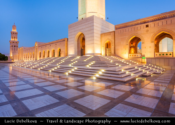 Middle East - Sultanate of Oman - Muscat - مسقط - Masqaṭ - Sultan Qaboos Grand Mosque - Largest mosque in Oman - Beautiful piece of modern Islamic architecture & cultural heritage